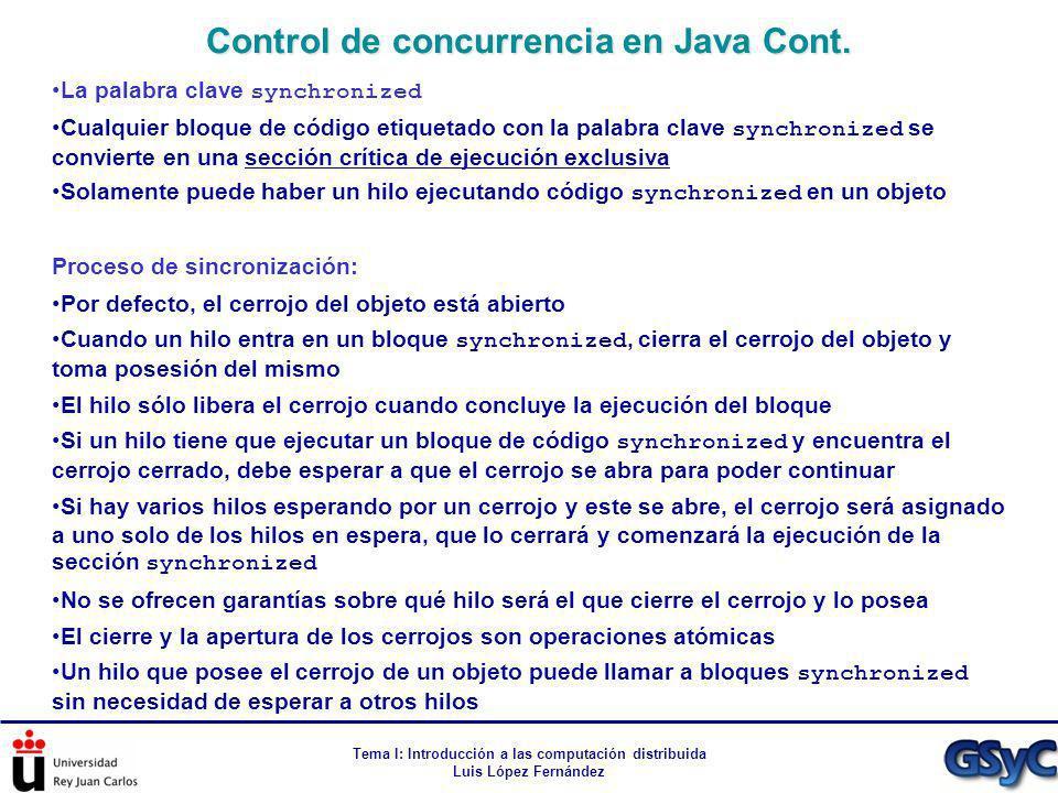 Control de concurrencia en Java Cont.