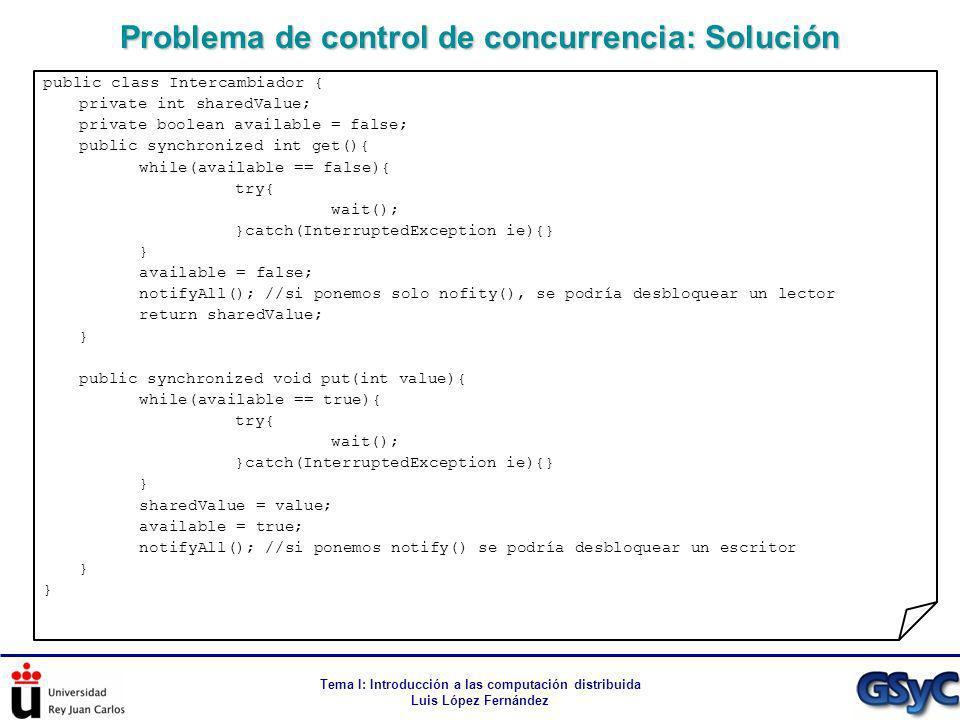 Problema de control de concurrencia: Solución