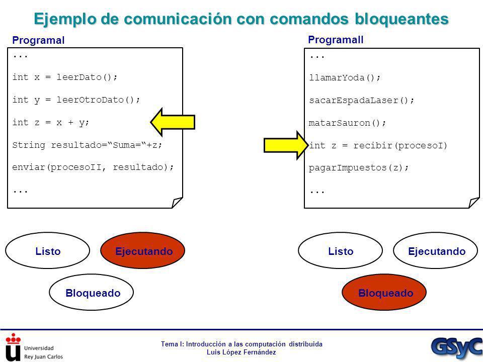 Ejemplo de comunicación con comandos bloqueantes