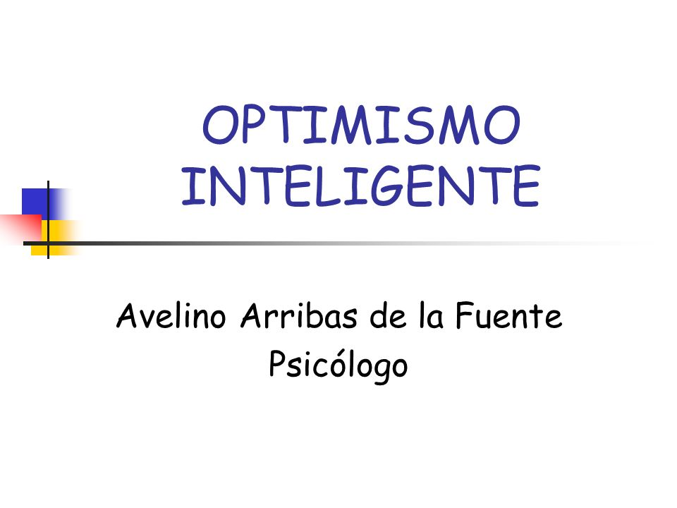 OPTIMISMO INTELIGENTE