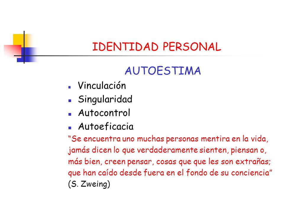 IDENTIDAD PERSONAL AUTOESTIMA Singularidad Autocontrol Autoeficacia