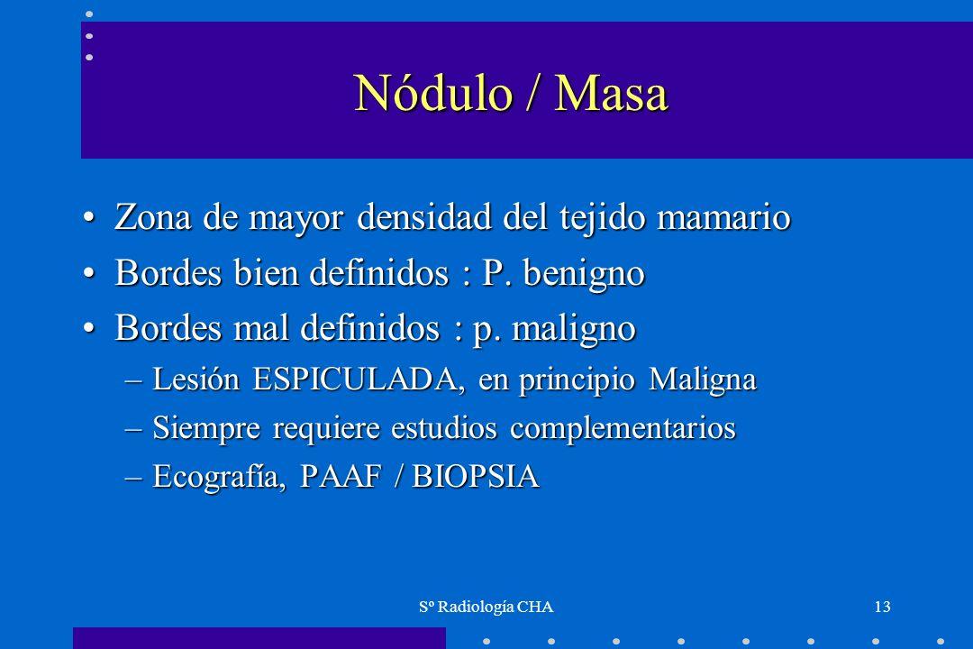 Nódulo / Masa Zona de mayor densidad del tejido mamario