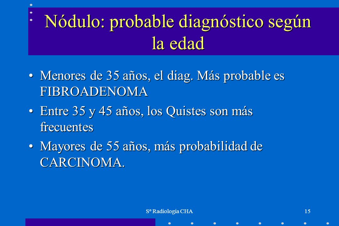 Nódulo: probable diagnóstico según la edad