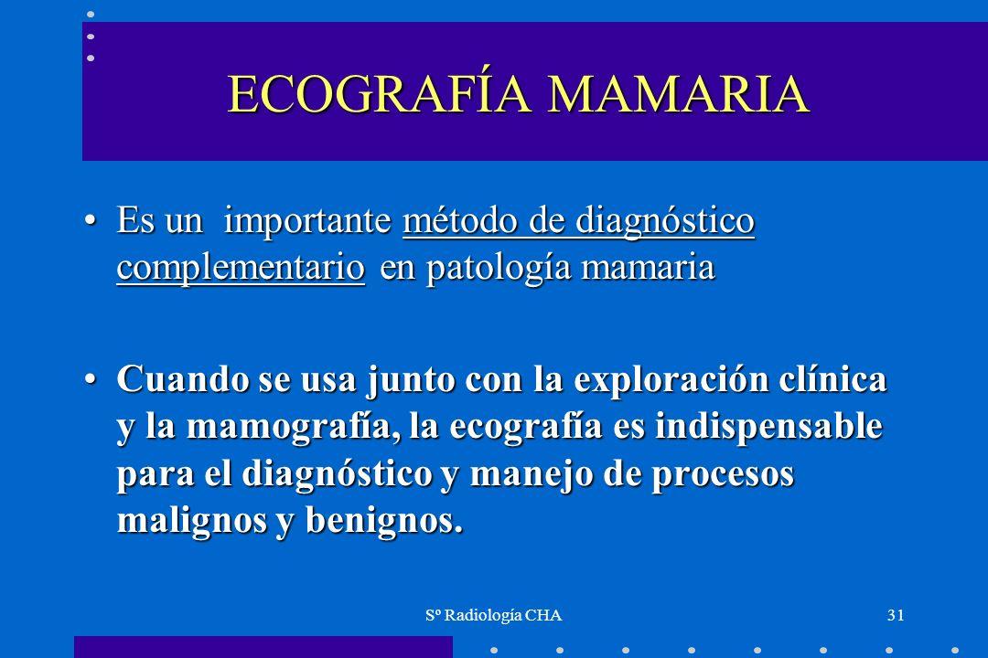 ECOGRAFÍA MAMARIA Es un importante método de diagnóstico complementario en patología mamaria.