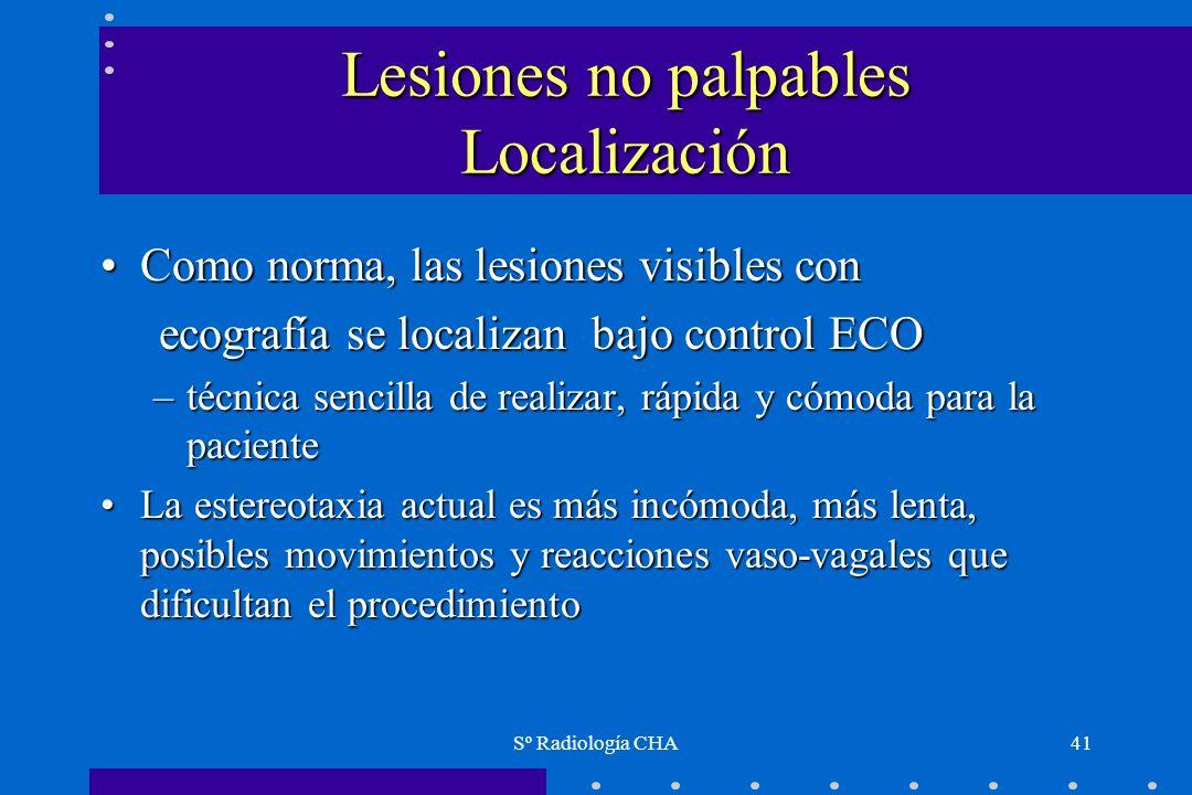 Lesiones no palpables Localización
