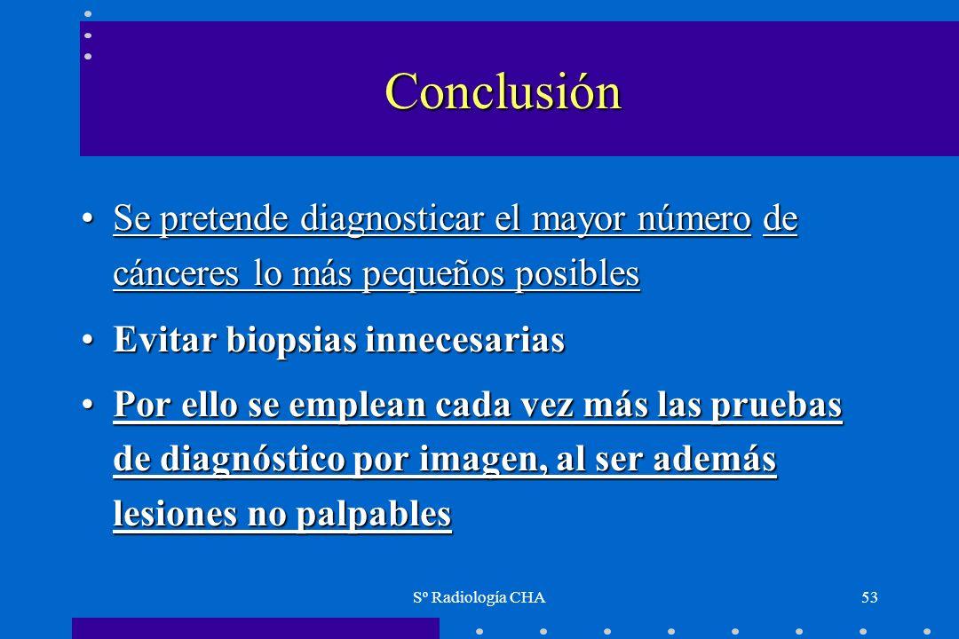 Conclusión Se pretende diagnosticar el mayor número de cánceres lo más pequeños posibles. Evitar biopsias innecesarias.
