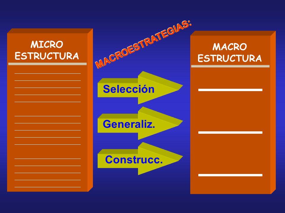 Selección Generaliz. Construcc. MICRO ESTRUCTURA MACROESTRATEGIAS: