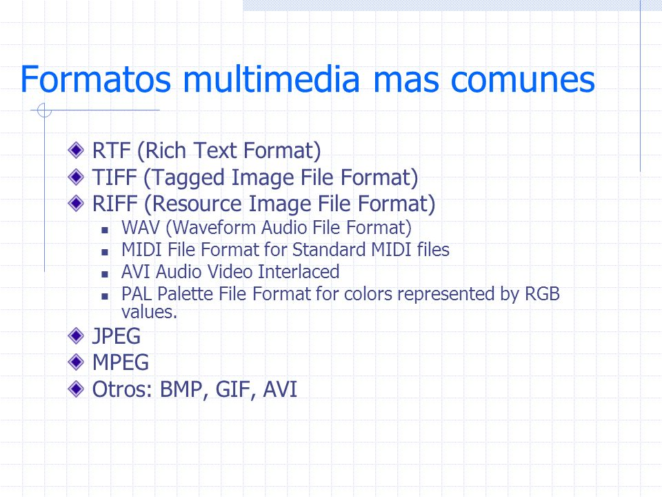 Formatos multimedia mas comunes