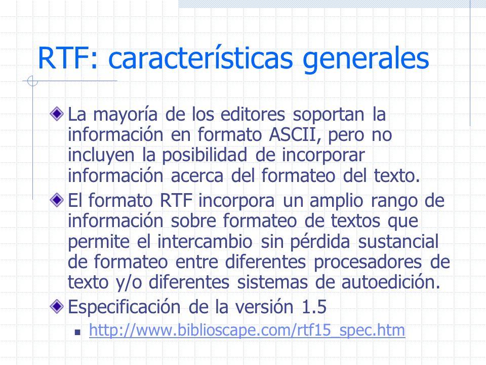 RTF: características generales