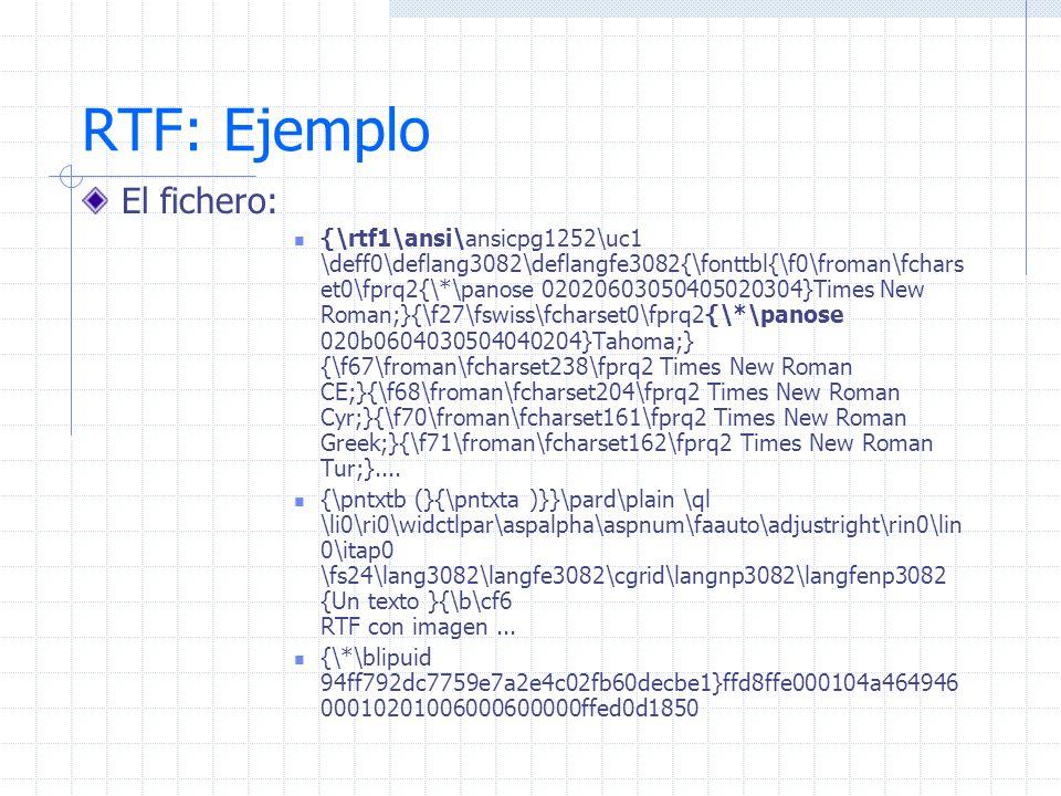 RTF: Ejemplo El fichero: