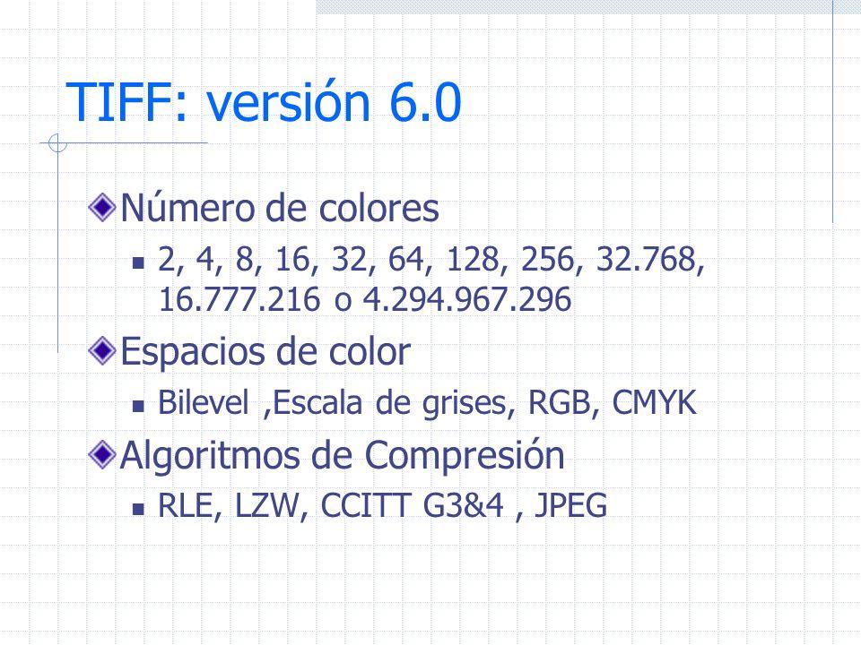 TIFF: versión 6.0 Número de colores Espacios de color