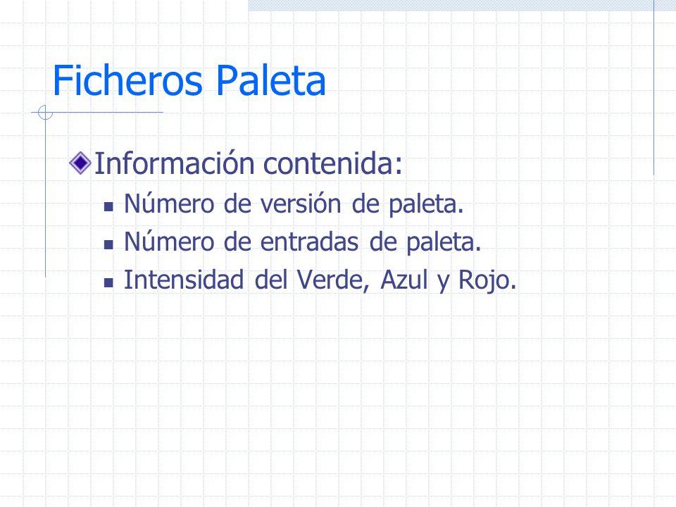 Ficheros Paleta Información contenida: Número de versión de paleta.