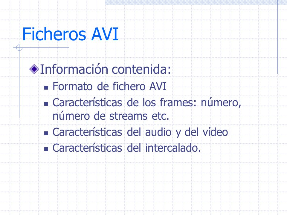 Ficheros AVI Información contenida: Formato de fichero AVI