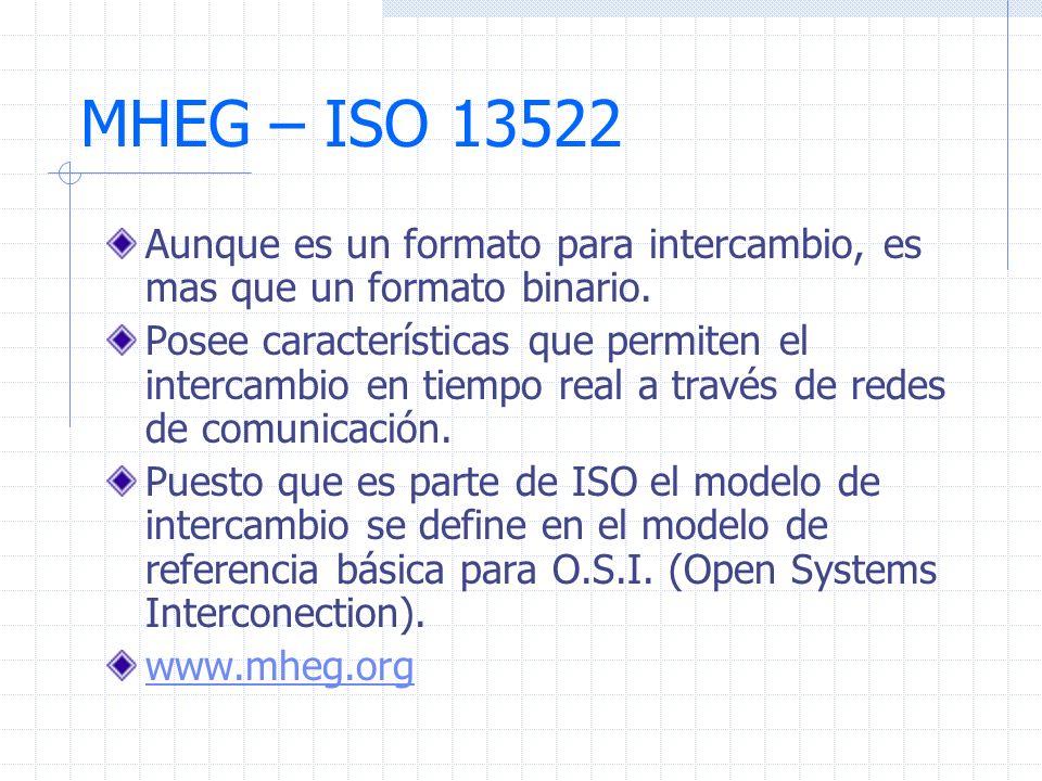 MHEG – ISO 13522 Aunque es un formato para intercambio, es mas que un formato binario.