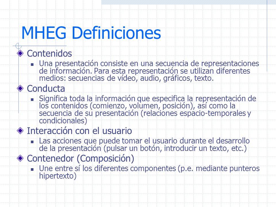 MHEG Definiciones Contenidos Conducta Interacción con el usuario