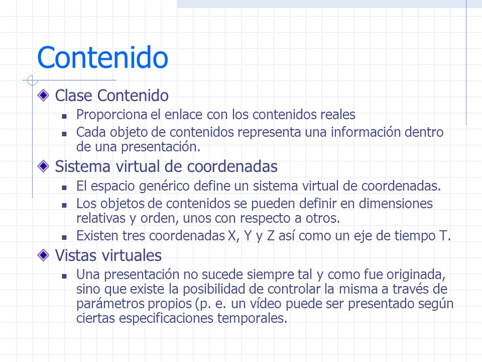 Contenido Clase Contenido Sistema virtual de coordenadas