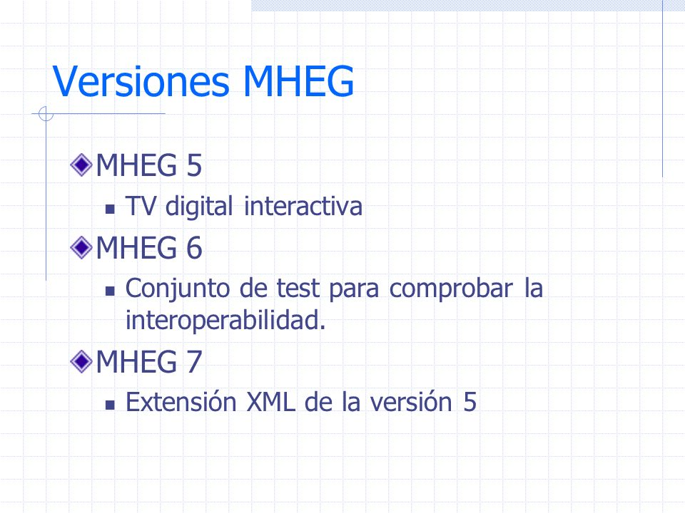 Versiones MHEG MHEG 5 MHEG 6 MHEG 7 TV digital interactiva