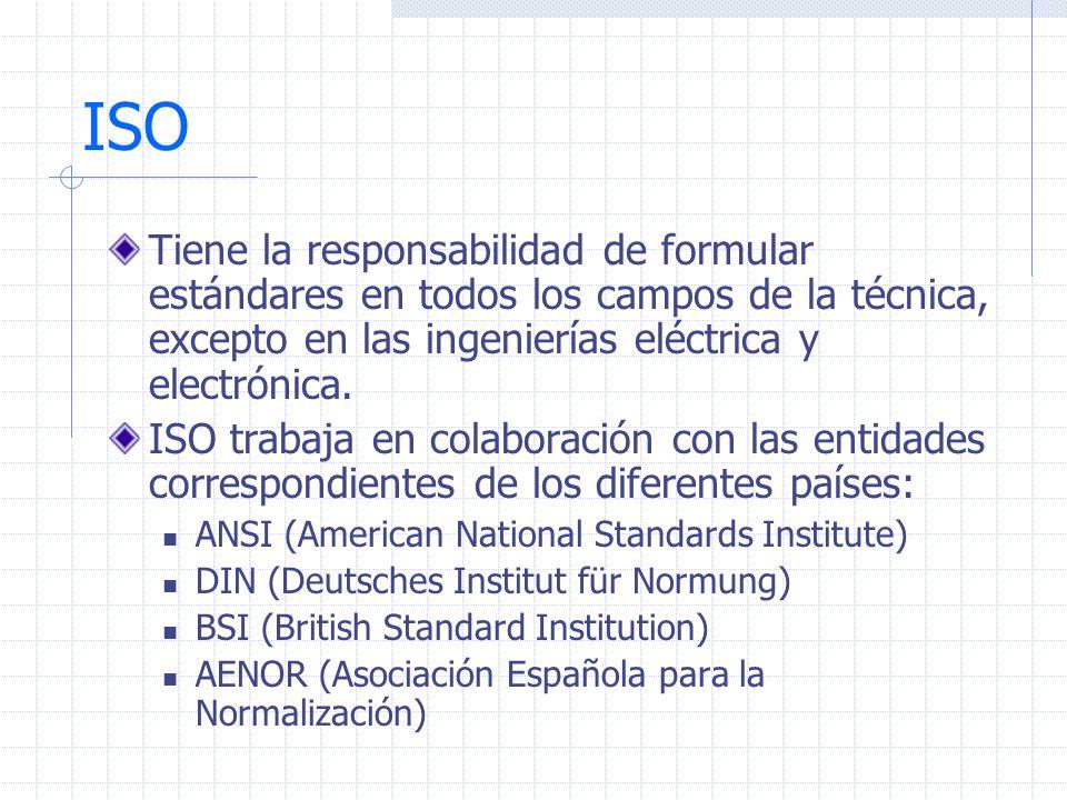 ISO Tiene la responsabilidad de formular estándares en todos los campos de la técnica, excepto en las ingenierías eléctrica y electrónica.