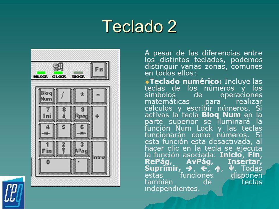 Teclado 2 A pesar de las diferencias entre los distintos teclados, podemos distinguir varias zonas, comunes en todos ellos:
