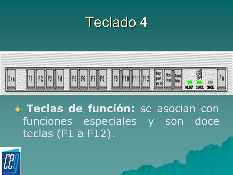 Teclado 4 Teclas de función: se asocian con funciones especiales y son doce teclas (F1 a F12).