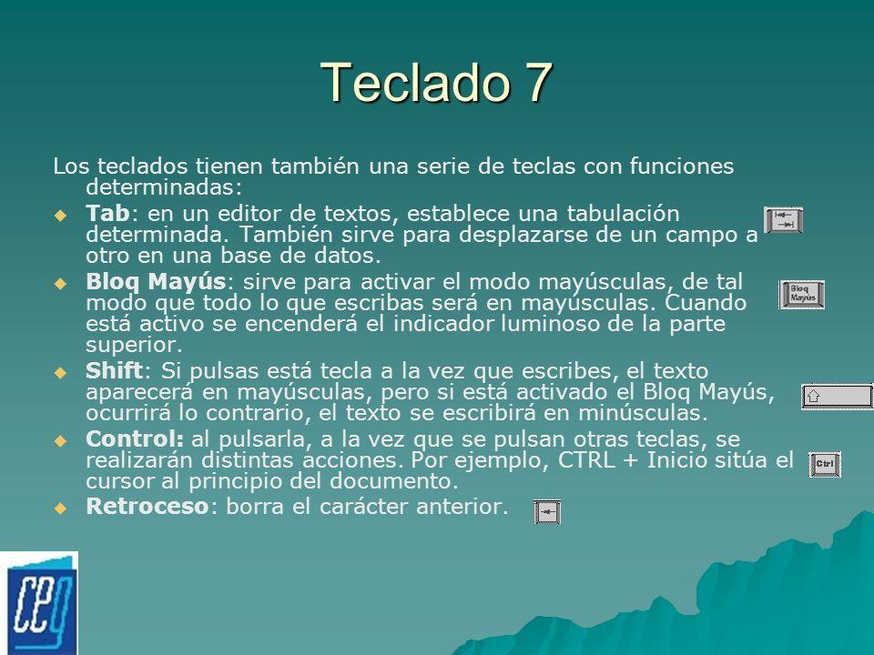 Teclado 7 Los teclados tienen también una serie de teclas con funciones determinadas: