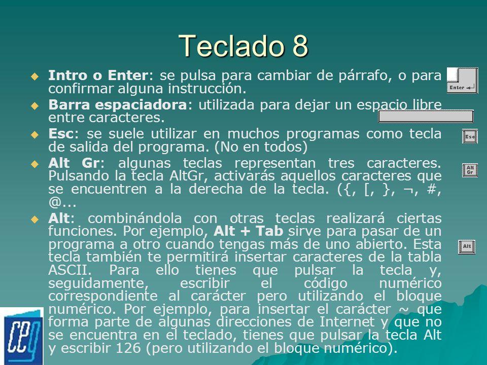 Teclado 8 Intro o Enter: se pulsa para cambiar de párrafo, o para confirmar alguna instrucción.