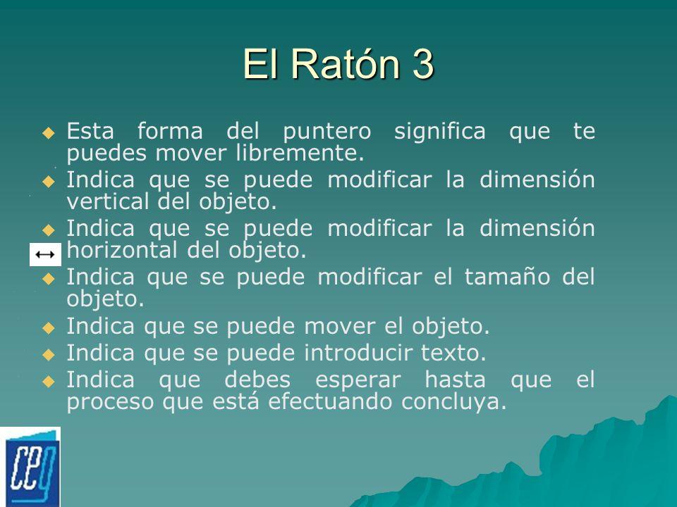 El Ratón 3 Esta forma del puntero significa que te puedes mover libremente. Indica que se puede modificar la dimensión vertical del objeto.