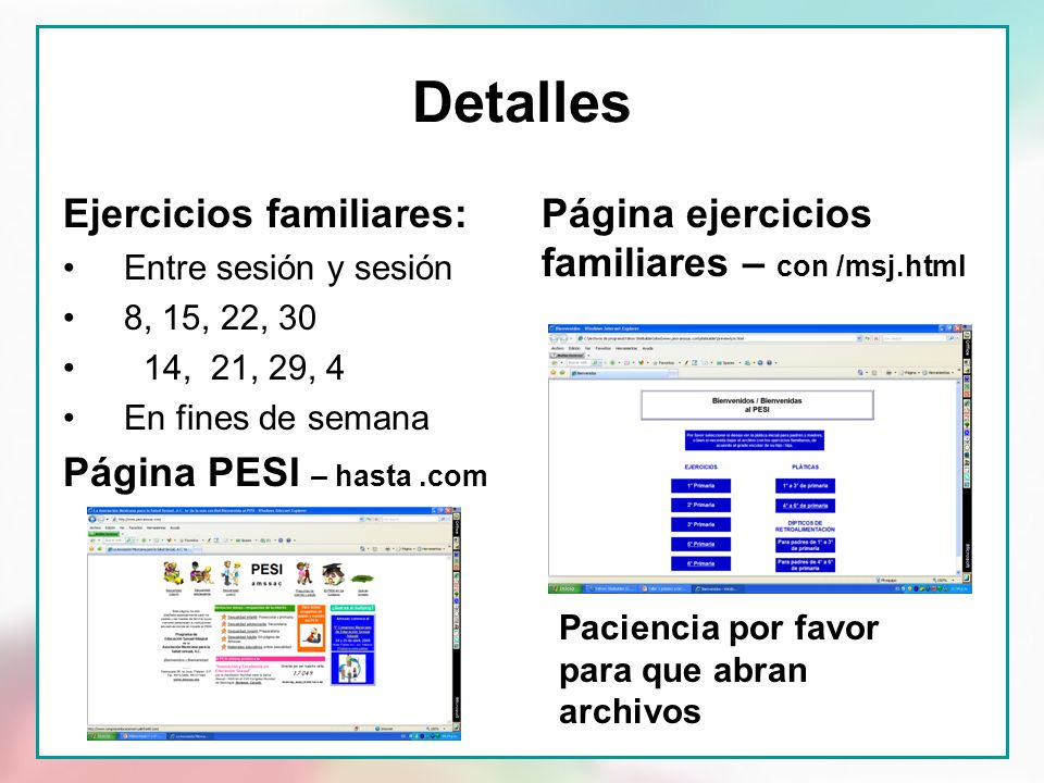 Detalles Ejercicios familiares: Página PESI – hasta .com