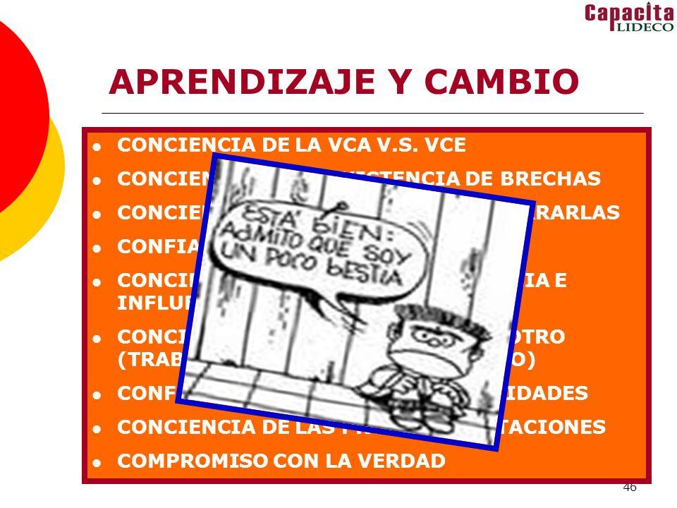 APRENDIZAJE Y CAMBIO CONCIENCIA DE LA VCA V.S. VCE