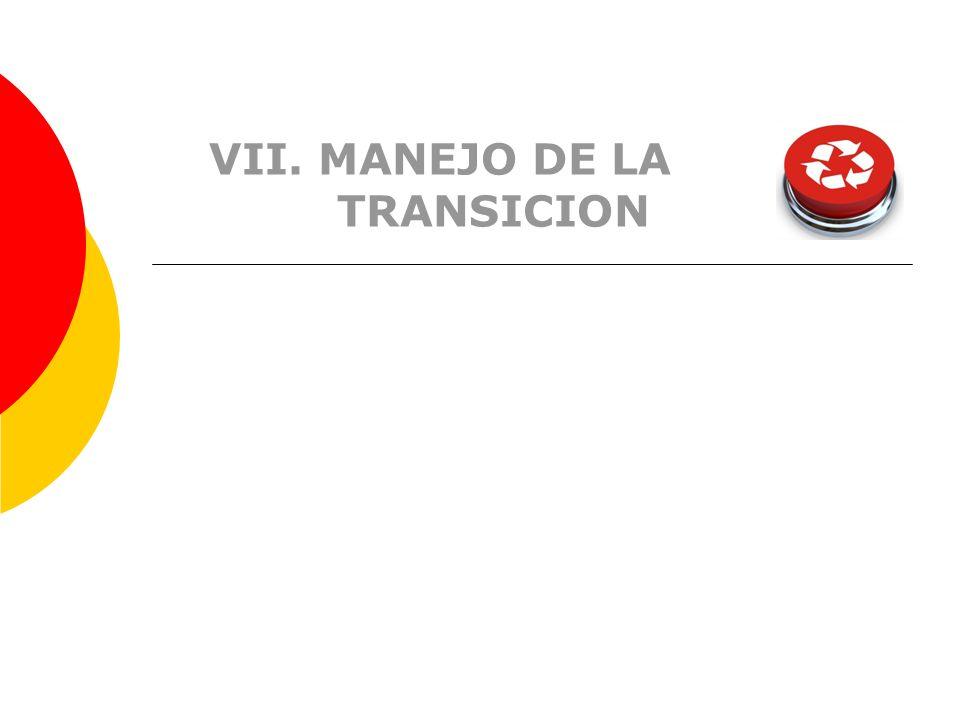 VII. MANEJO DE LA TRANSICION