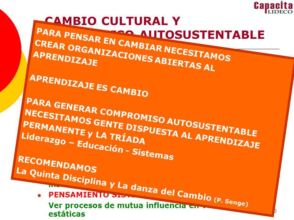 CAMBIO CULTURAL Y COMPROMISO AUTOSUSTENTABLE
