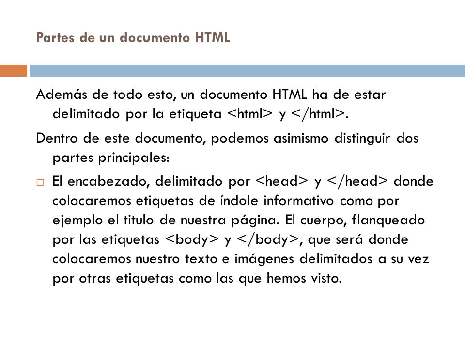 Partes de un documento HTML