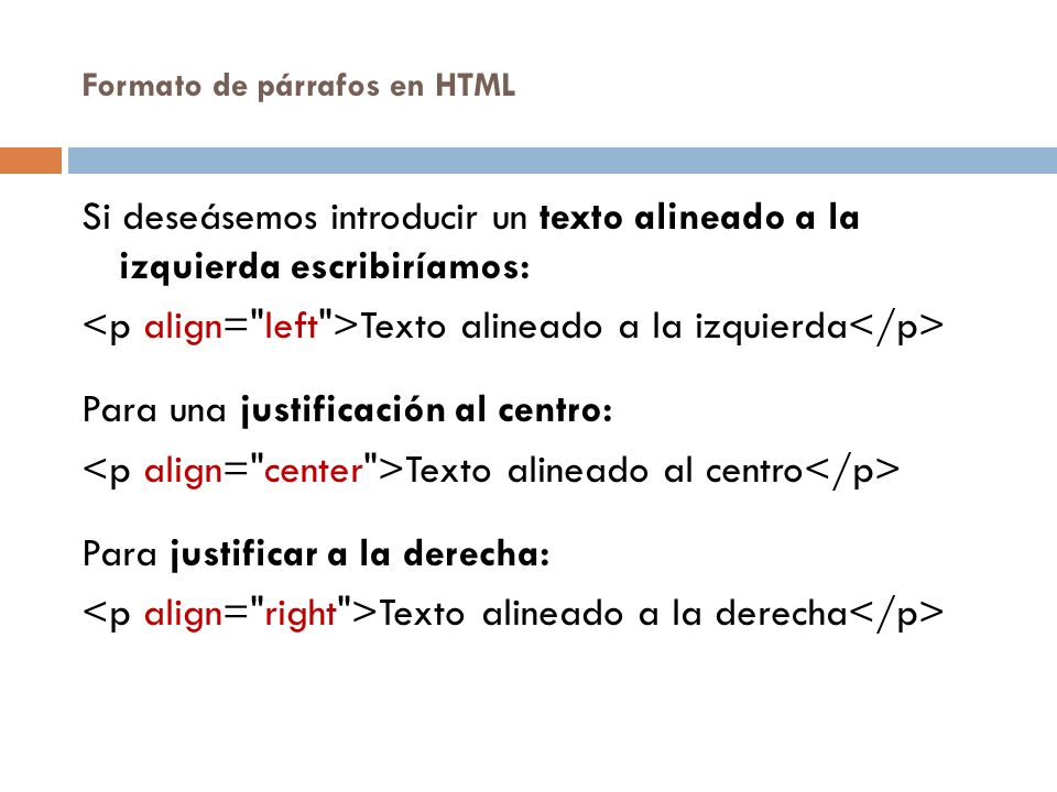 Formato de párrafos en HTML