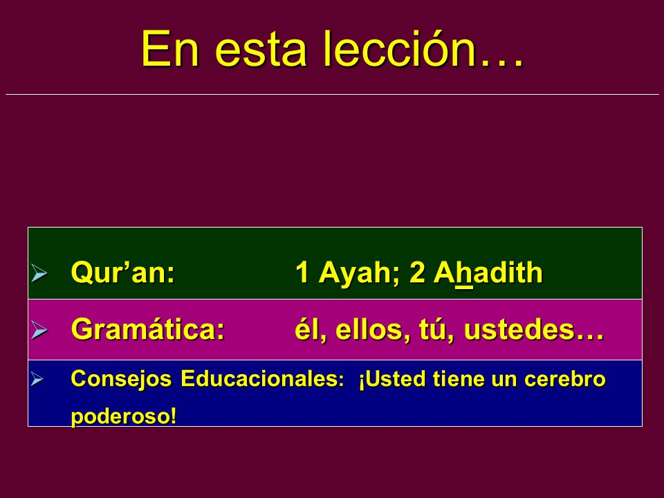 En esta lección… Qur'an: 1 Ayah; 2 Ahadith