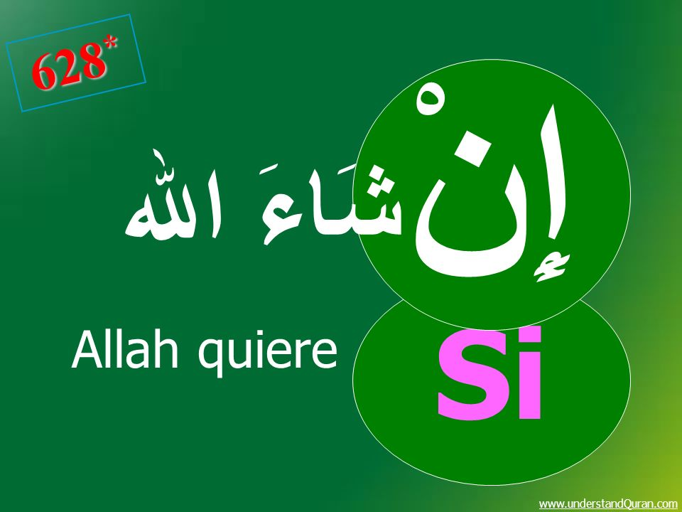 628* Si إِنْ شَاءَ اﷲ Allah quiere