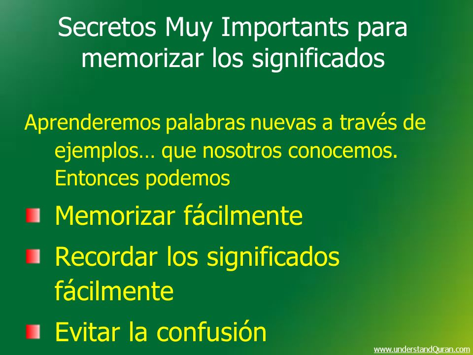 Secretos Muy Importants para memorizar los significados