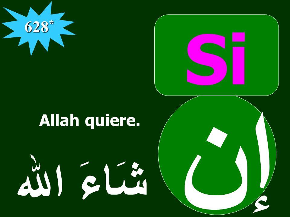 628* Si إن شَاءَ الله Allah quiere. َ
