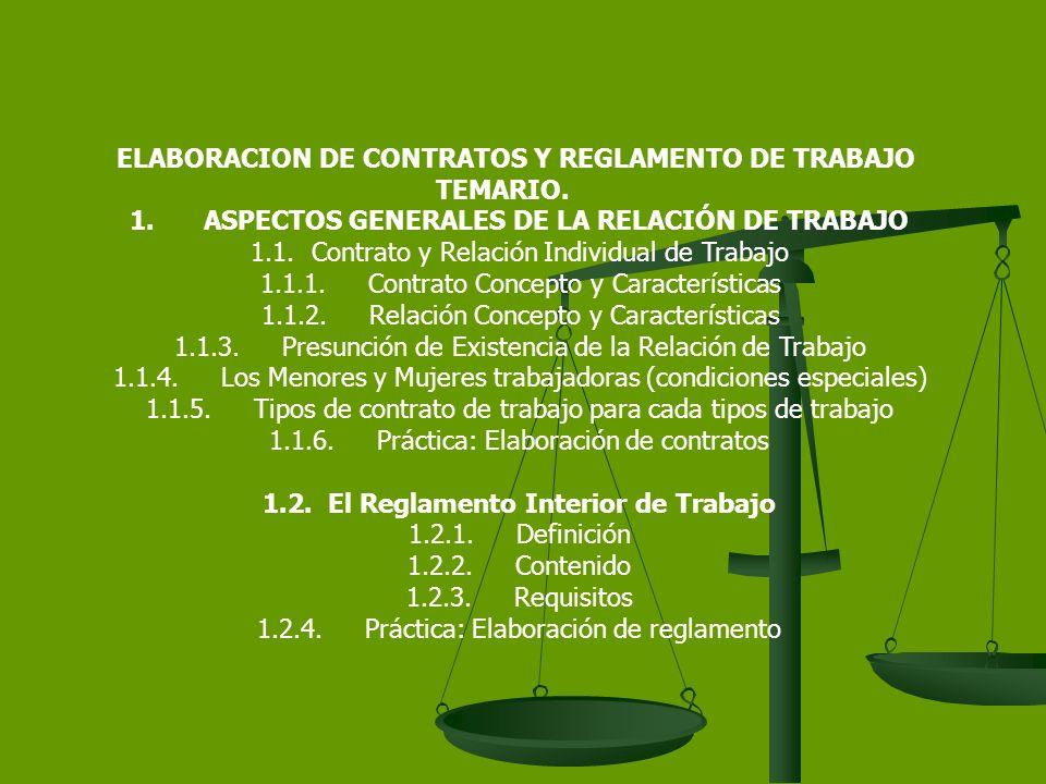 ELABORACION DE CONTRATOS Y REGLAMENTO DE TRABAJO