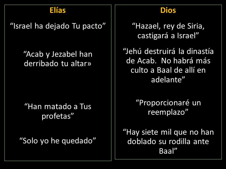 Elías Israel ha dejado Tu pacto Acab y Jezabel han derribado tu altar» Han matado a Tus profetas Solo yo he quedado