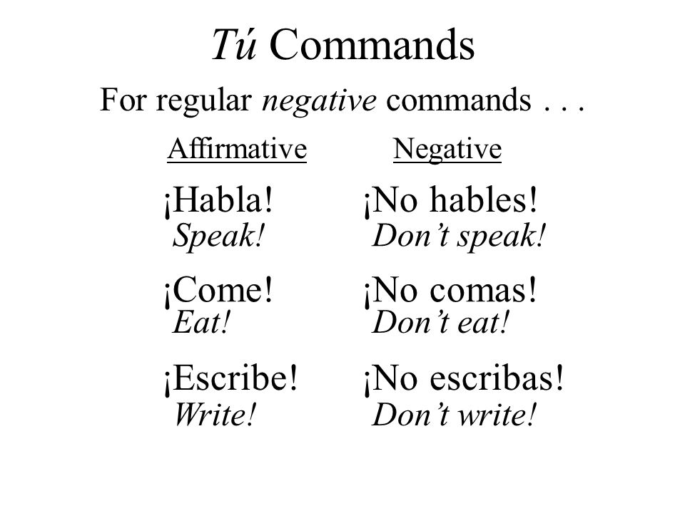 For regular negative commands . . .