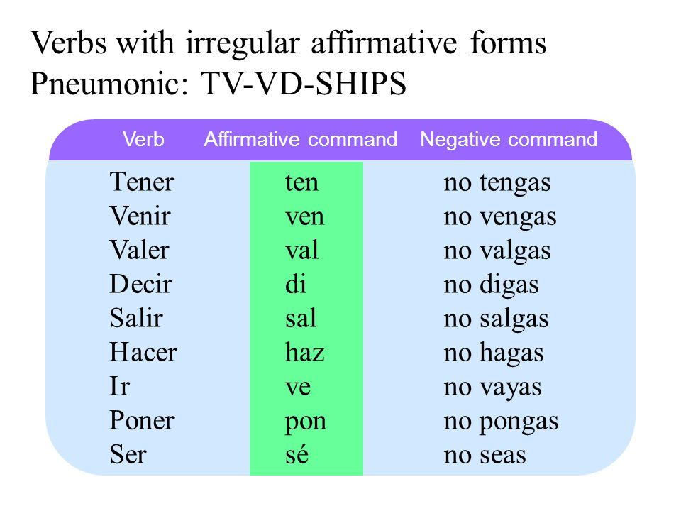 Verbs with irregular affirmative forms Pneumonic: TV-VD-SHIPS