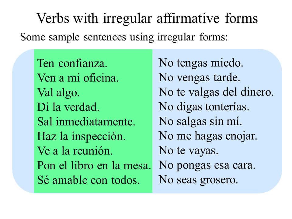 Verbs with irregular affirmative forms