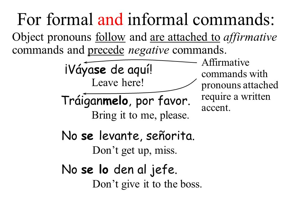 For formal and informal commands: