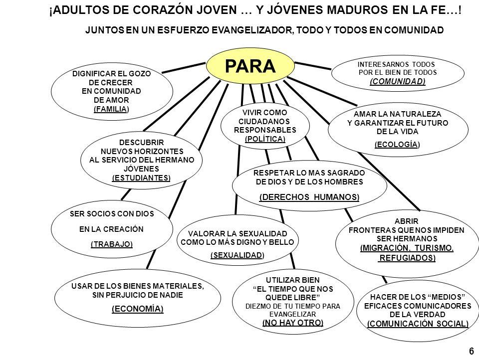 PARA ¡ADULTOS DE CORAZÓN JOVEN … Y JÓVENES MADUROS EN LA FE…!