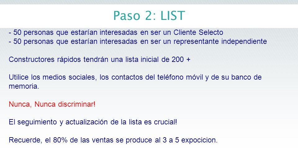 Paso 2: LIST - 50 personas que estarían interesadas en ser un Cliente Selecto.