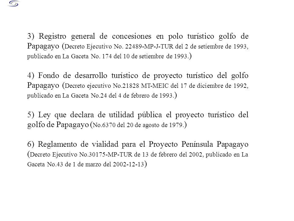 3) Registro general de concesiones en polo turístico golfo de Papagayo (Decreto Ejecutivo No. 22489-MP-J-TUR del 2 de setiembre de 1993, publicado en La Gaceta No. 174 del 10 de setiembre de 1993.)