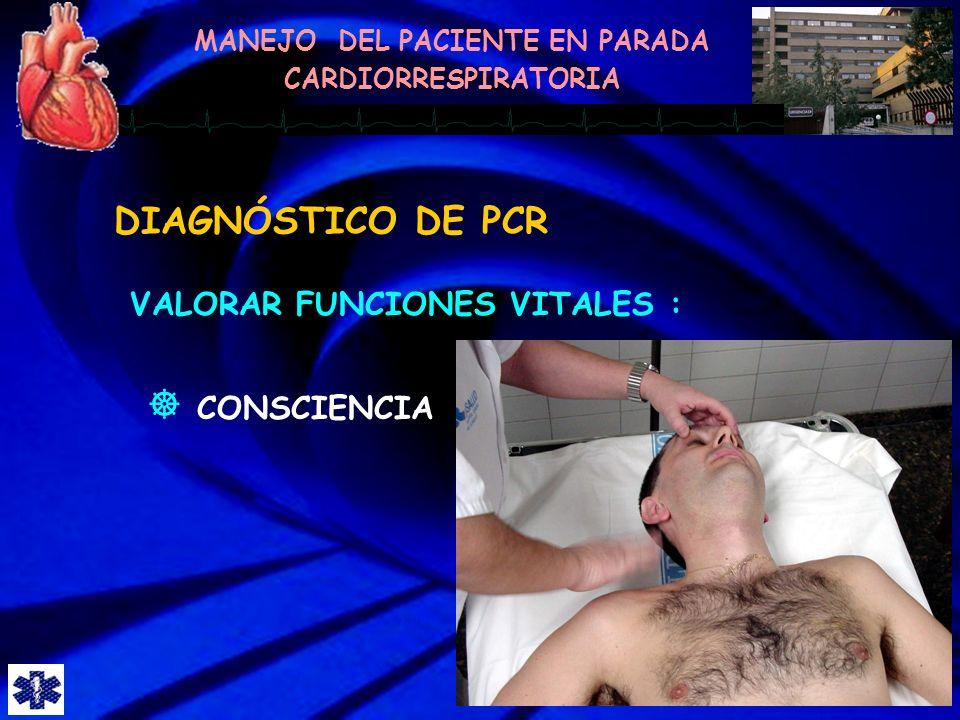 DIAGNÓSTICO DE PCR VALORAR FUNCIONES VITALES : CONSCIENCIA