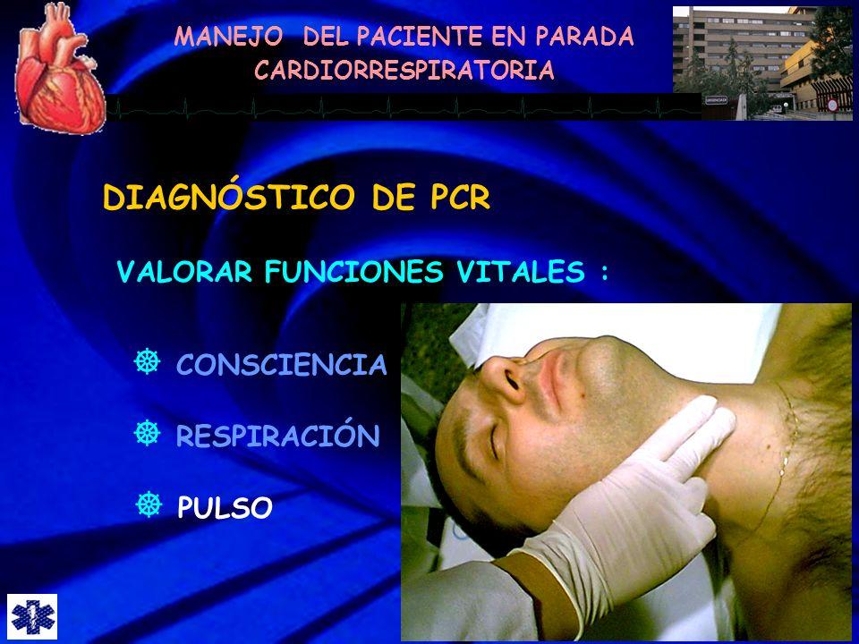 DIAGNÓSTICO DE PCR VALORAR FUNCIONES VITALES : CONSCIENCIA RESPIRACIÓN