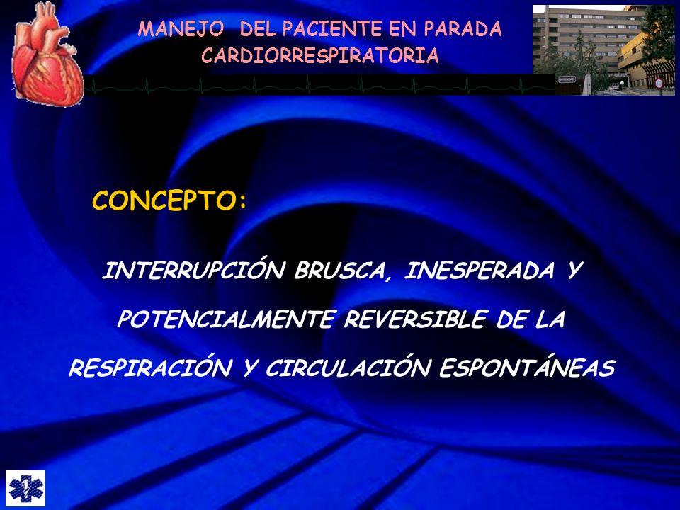 CONCEPTO: INTERRUPCIÓN BRUSCA, INESPERADA Y POTENCIALMENTE REVERSIBLE DE LA RESPIRACIÓN Y CIRCULACIÓN ESPONTÁNEAS.
