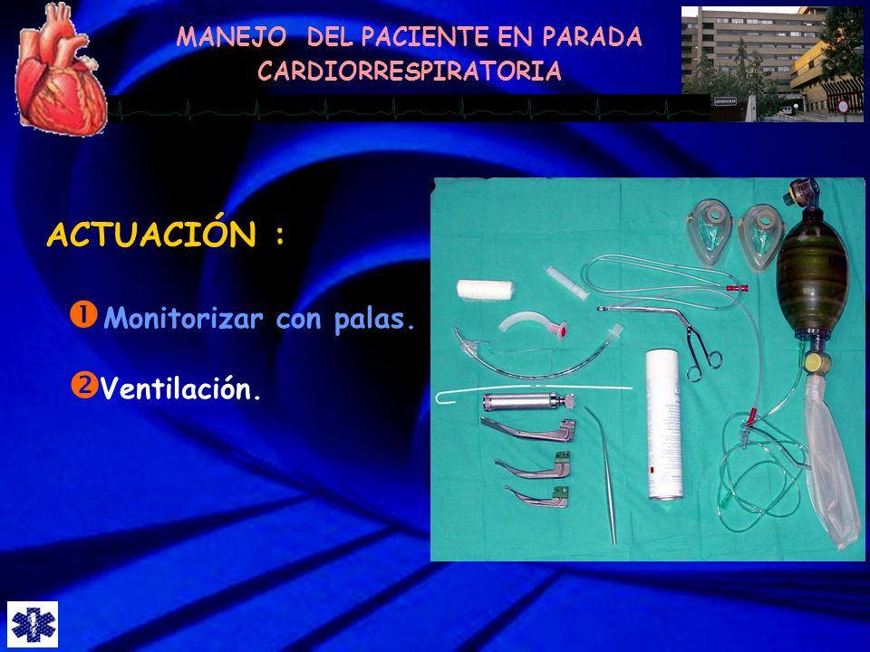 ACTUACIÓN : Monitorizar con palas. Ventilación.